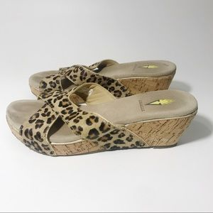 Volatile Faux Calf Hair Leopard Wedge Sandals, 9